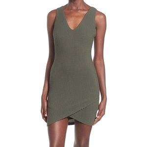 ASTR THE LABEL olive green body con pique dress